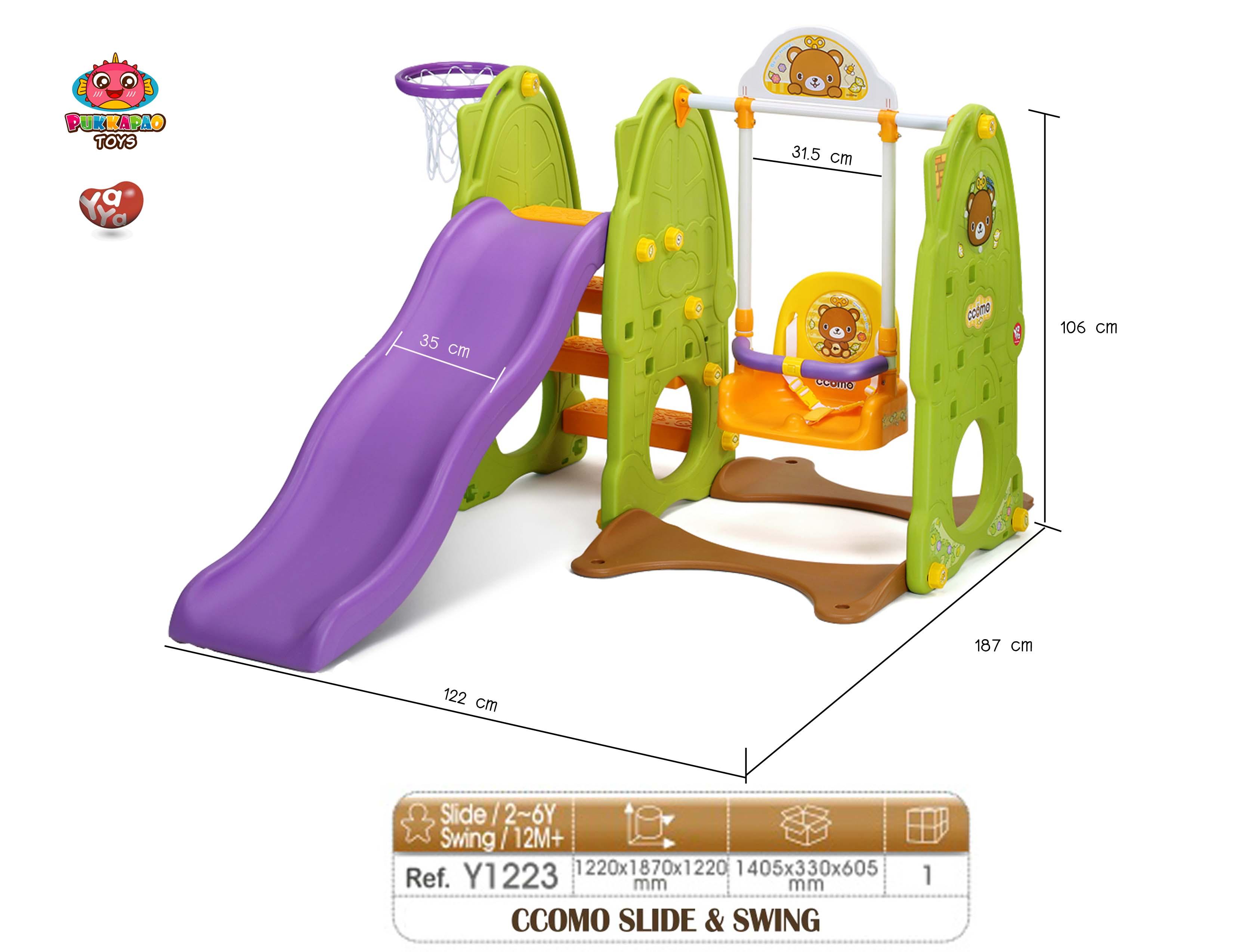 สินค้าเลิกจำหน่าย ถาวร ชิงช้า สไลเดอร์ เกาหลี Yaya CCOMO Slide & Swing สีเขียว