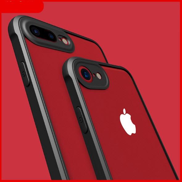 เคสไอโฟนรุ่นปกป้องกล้อง Premium (ขอบยาง หลังพลาสติกแข็ง ป้องกันเคสเหลือง) Iphone 7(ขอบดำ หลังใส)