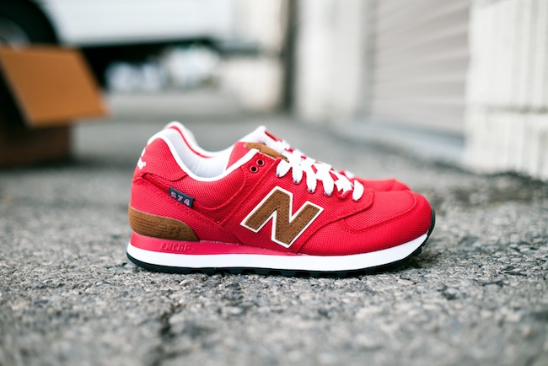 womens red new balance 574