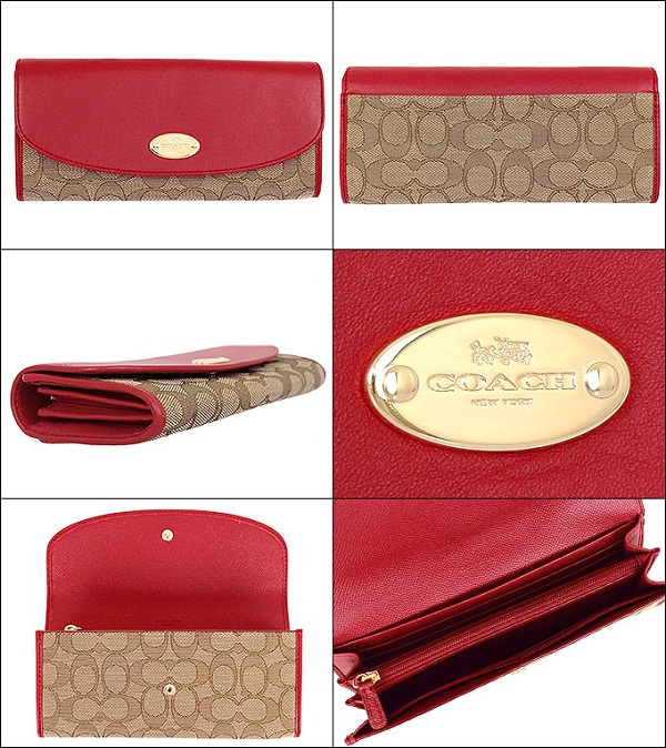 detailed look 9ae2b 30bb8 COACH F53538 SLIM ENVELOPE WALLET IN SIGNATURE (Classic Red)