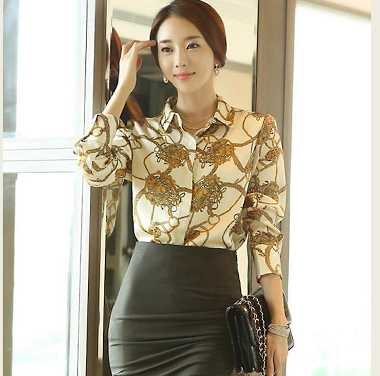 Pre-order เสื้อเชิ้ตชีฟองแขนยาว เสื้อทำงานแขนยาว พิมพ์ลายโซ่ท่อง แฟชั่นสไตล์เกาหลีปี 2015