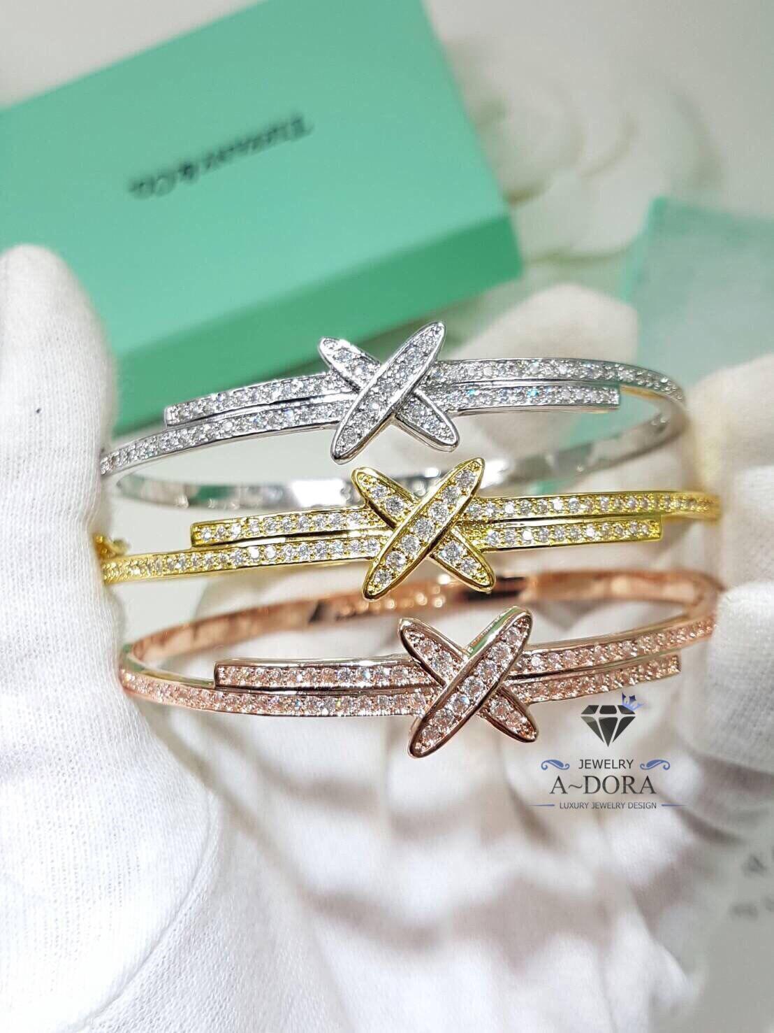 พร้อมส่ง ~ Diamond Bracelet กำไลเพชร CZ ฝังล้วน เกรดเพชร 8A งามสุดๆ