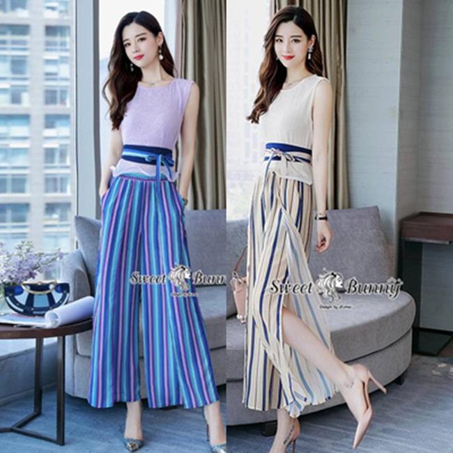 ชุดเซทแฟชั่น ชุดเซ็ทเสื้อ+เข็มขัด+กางเกงงานเกาหลี เสื้อผ้าเนื้อดีนุ่ม