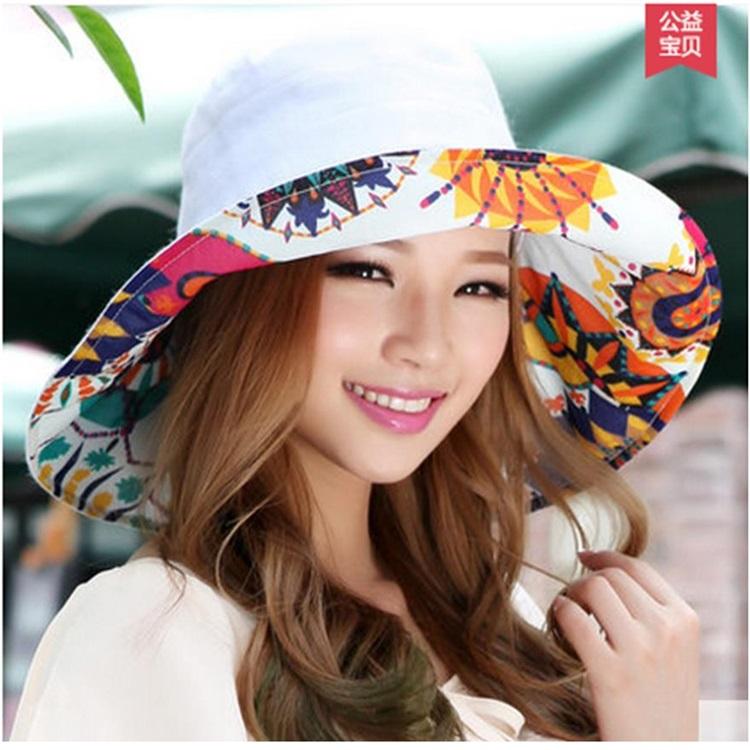 Pre-order หมวกแฟชั่น หมวกใบกว้าง หมวกฤดูร้อน กันแดด หมวกกันแสงยูวี ผ้าลินิน สีขาวพิมพ์ลายดอกไม้ด้านใน