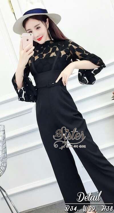 ชุดเซทแฟชั่น เซ็ตเสื้อ+กางเกงเอี้ยมใส่เข้าชุดกัน ตัวเสื้อผ้าลูกไม้ซีทรูทอลายใบไม้สวย