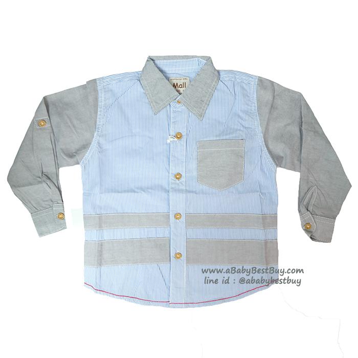 ( 1-2-3 ) เสื้อเชิ้ตแขนยาวสีฟ้าอ่อน แฟชั่น เด็กผู้ชาย สุดเท่ห์ ใส่สบาย (Size 1-2-3)