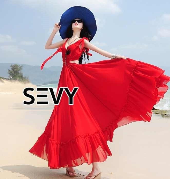 เดรสแฟชั่น เดรสยาวสีแดงสดใส ดีเทลผูกเป็นโบว์ช่วงบ่า เอวว้าวข้างถึงหลัง