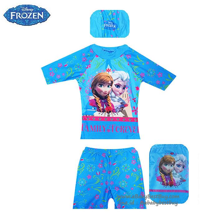 size XS - ชุดว่ายน้ำเด็กผู้หญิง Disney Frozen สีน้ำฟ้า เสื้อแขนสั้น กางเกงขาสั้น สกรีนลายเจ้าหญิงอันนา เอลซ่า มาพร้อมหมวกว่ายน้ำ สุดเท่ห์ ใส่สบาย ลิขสิทธิ์แท้ (สำหรับเด็กอายุ 6เดือน-2 ปี)