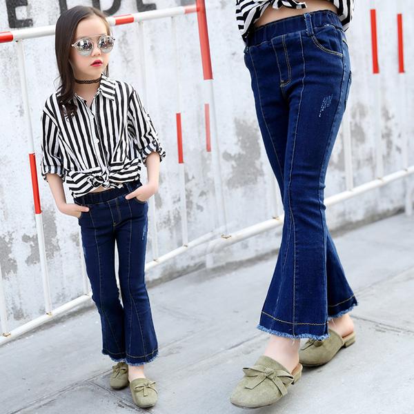 กางเกงยีนส์ขาม้า กางเกงยีนส์เด็กผู้หญิง