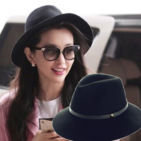Pre-order หมวกผ้าขนสัตว์อินเดียน่าโจนหมวกเท่ ๆ หมวกแฟชั่นสไตล์วินเทจ กันแดด กันแสงยูวี สีดำ