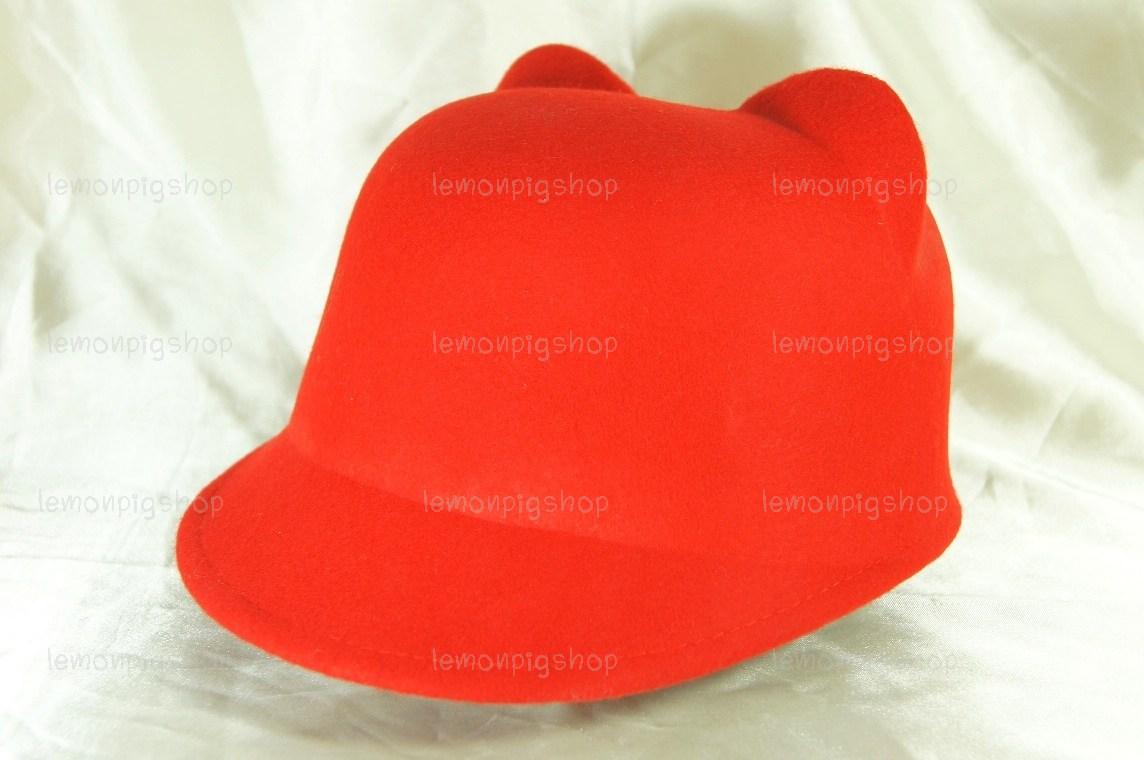 หมวกหูแมว ปีกหน้าทรงจ็อกกี้ สีแดง !!!