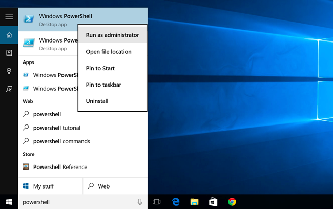 Run PoweShell Windows10
