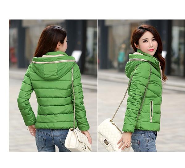 Pre-Order เสื้อโค้ทผู้หญิงแฟชั่น สีเขียว มีฮู๊ด แขนยาว แฟชั่นเกาหลี