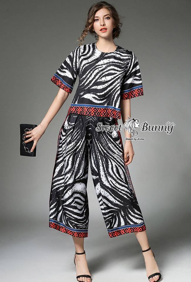 ชุดเซทแฟชั่น ชุดเซ็ทเสื้อ+กางเกง ผ้าเนื้อดีหนานุ่มมีน้ำหนักทิ้งตัวสวย