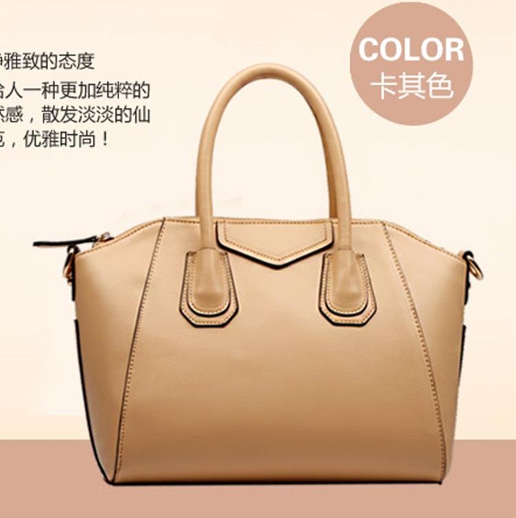 (Pre-order) กระเป๋าหนังแท้ กระเป๋าสะพายผู้หญิง หนังเรียบ แบบคลาสสิค สไตล์ยุโรป อเมริกา สีกากี