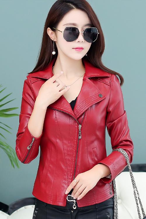 (พร้อมส่ง) เสื้อกันหนาว เสื้อแจ็คเก็ต เสื้อหนังแฟชั่น สีแดงเลือดหมู ตัวสั้น คุณภาพงานพรีเมี่ยม
