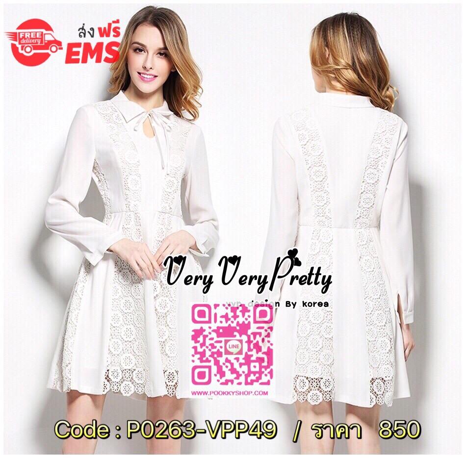 Smart Chic Shirt Dress Style Korea เดรสเชิ้ตแขนยาวสไตล์เกาหลี เนื้อผ้าชีฟองหนานุ่มใส่สบายผิวค่ะ ทรงคอเชิ้ตแขนยาว เพิ่มลวดลายให้กับเดรสให้ได้ลุคสวยหรูด้วยงานลูกไม้สีขาวสวยเก๋ เย็บตั้งตรงด้านหน้าเพิ่มดีเทลความสวยให้กับชุดไดลงตัวค่ะ งานสวยเหมือนแบบ ใส่ได้หลา