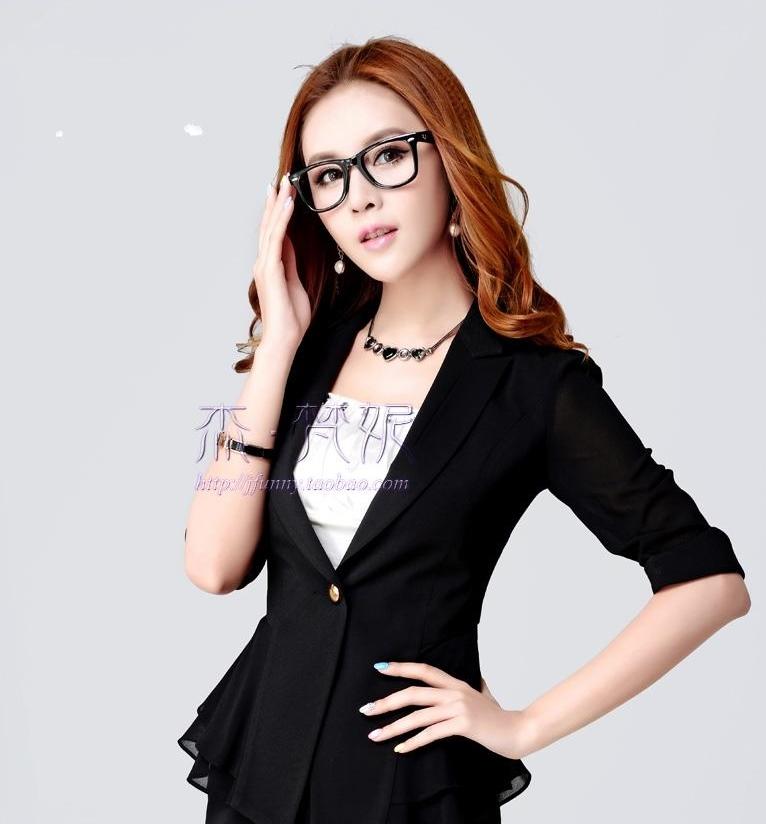 Pre-Order เสื้อสูททำงาน เสื้อสูทผู้หญิง สูทลำลอง สูทคอวี คอปก แขนสามส่วน แฟชั่นชุดทำงานสไตล์เกาหลีปี 2014 สีดำ
