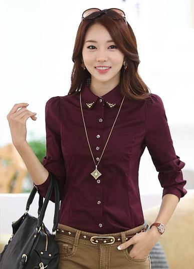 พร้อมส่ง เสื้อผ้าแฟชั่นเกาหลีปี 2014 เสื้อเชิ้ตคอปกแขนยาว เสื้อเชิ้ตทำงาน เสื้อผ้าทำงาน กระดุมหน้า ผ้าฝ้าย