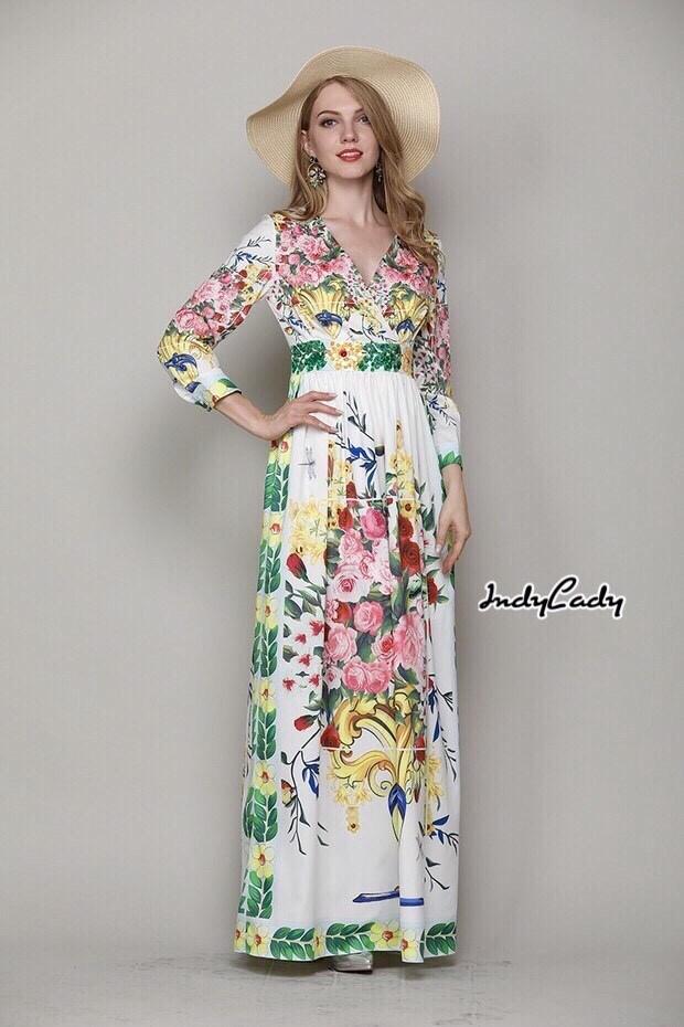 เดรสยาว ทรงสวย แขนยาว คอวีไขว้หน้าสวย งานพิมพ์ลายกราฟฟิก ลวดลายดอกไม้ กุหลาบ สีสวย