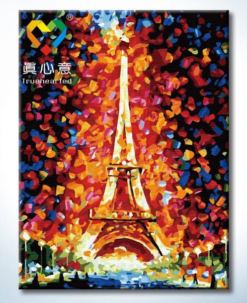 รหัส HB4050327 ภาพระบายสีตามตัวเลข Paint by Number แบบ Eiffel Tower ขนาด40x50cm/พร้อมส่ง