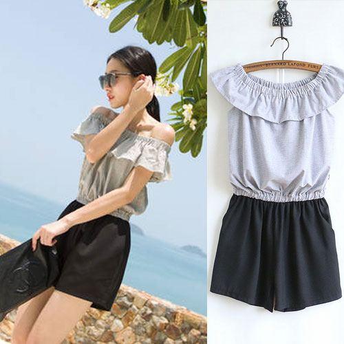 ++สินค้าพร้อมส่งค่ะ++ ชุดแฟชั่น Jumpsuit กางเกงขาสั้นเกาหลี คอเสื้อสไตล์เกาะไหล่ ผ้าฝ้านเยื้อดีพิมพ์ลายเส้น เอวจั้มแบบยางยืด – สีเทา