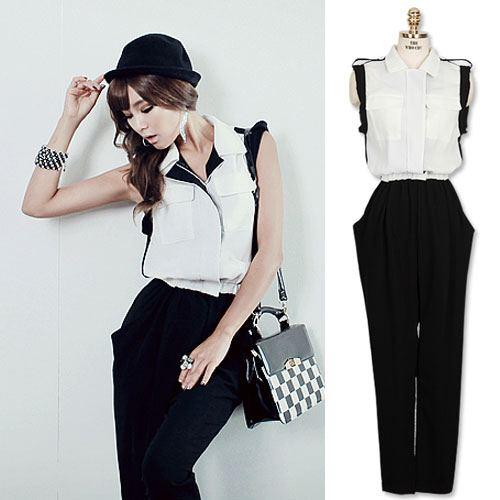 ++สินค้าพร้อมส่งค่ะ++ Jumpsuit กางเกงขายาวเกาหลี แขนกุด คอปก ผ้าชีฟองเนื้อดี จั้มเอวแบบยางยืดขอบหนา แต่งบ่าเท่ห์ค่ะ – สีขาว