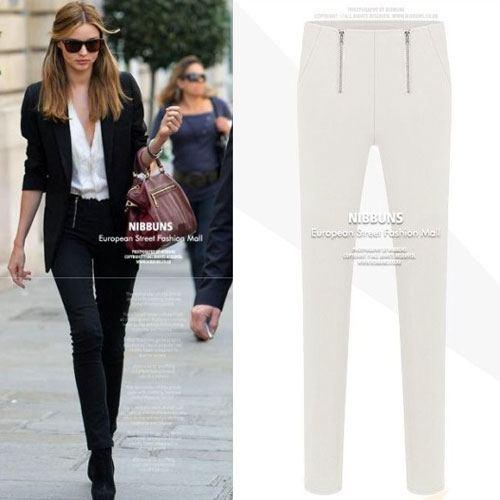 ++สินค้าพร้อมส่งค่++ กางเกงแฟชั่นเกาหลี ขายาว เนื้อผ้าฝ้ายยืดหยุ่นได้ดีมากค่ะ แต่งซิบคู่ด้านหน้า ทรงขาดินสอ เข้ารูปเก๋มากค่ะ – สีขาว