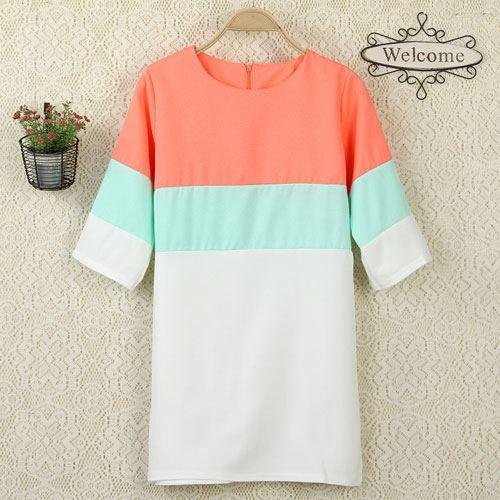 ++สินค้าพร้อมส่งค่ะ++เสื้อแฟชั่นเกาหลี ตัวยาว คอกลม แขนสามส่วน ผ้า cotton ผสม แต่งสีหลากสไตล์ ซิบหลังค่ะ – สีส้ม