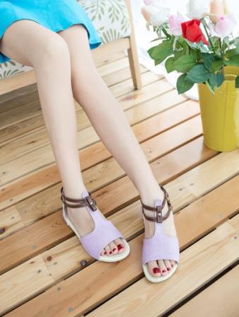 Pre Order - รองเท้าแฟชั่น ส้นเตี้ยแบน หวาน ๆ สไตล์ลำลอง สี : สีม่วง / สีชมพู / สีครีม