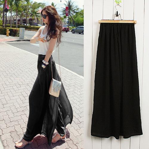 ++สินค้าพร้อมส่งค่ะ++ กางเกงขายาวเกาหลี ผ้าชีฟอง เอวยืด ดีไซด์ขากว้าง มี 2 สีค่ะ - สีดำ