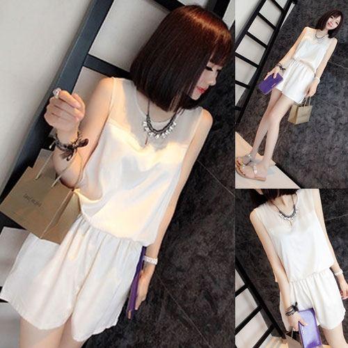 ++สินค้าพร้อมส่งค่ะ++ Jumpsuit กางเกงขาสั้นเกาหลี คอกลม แขนกุด ผ้าไหมเนื้อดีค่ะ แต่งตาข่ายช่วงอก จั้มเอวแบบยางยืดเก๋มากค่ะ – สีขาว