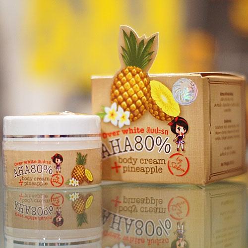 ครีมสับปะรด Over White Body Cream Pineapple AHA80% by Sabu