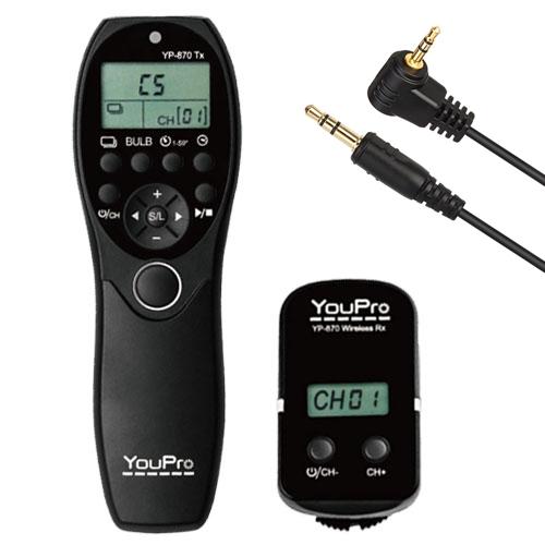 YouPro Wireless Timer Remote YP-870/E3 Canon 80D, 760D, 750D, 700D, 70D, 650D, 600D, 550D, 500D, 450D, 400D, 350D, 300D, 1300D,1200D, 1100D, 1000D, 100D, SX50, G10, G11, G12, G1X Contax DSLR: N Digital; SLR: 645, NX, N1; / Pentax DSLR: K-30, K-7, K-5 IIs,
