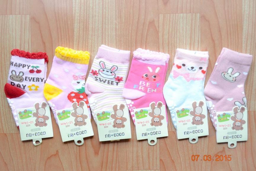 U040-12**พร้อมส่ง** (ปลีก+ส่ง) ถุงเท้าเด็กหญิงวัย 1-2 ขวบ COCO & BU (ขนาด 12-14 cm.) มีกันลื่น เนื้อดี งานนำเข้า ( Made in China)