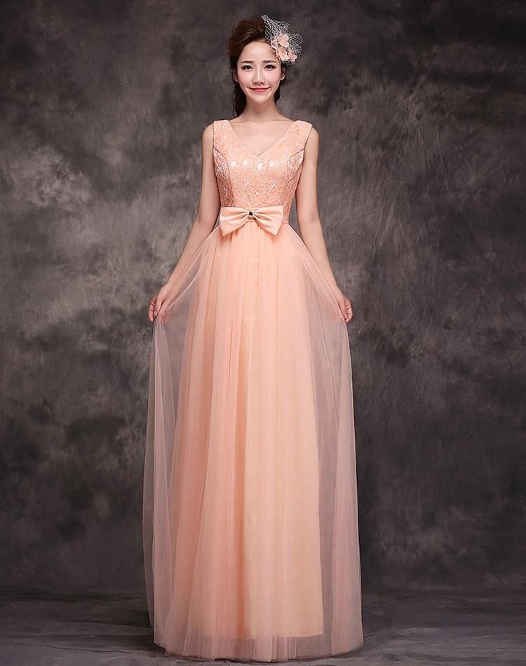 ชุดราตรียาว Pre-Order แขนกุด สีชมพู คอวี ใส่ไปงานราตรีสวยมากๆ