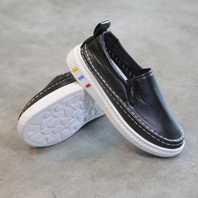 รองเท้าเด็กหนัง PU#เรียบแต่เก๋#แบบสวม#ใส่ง่าย สีดำ