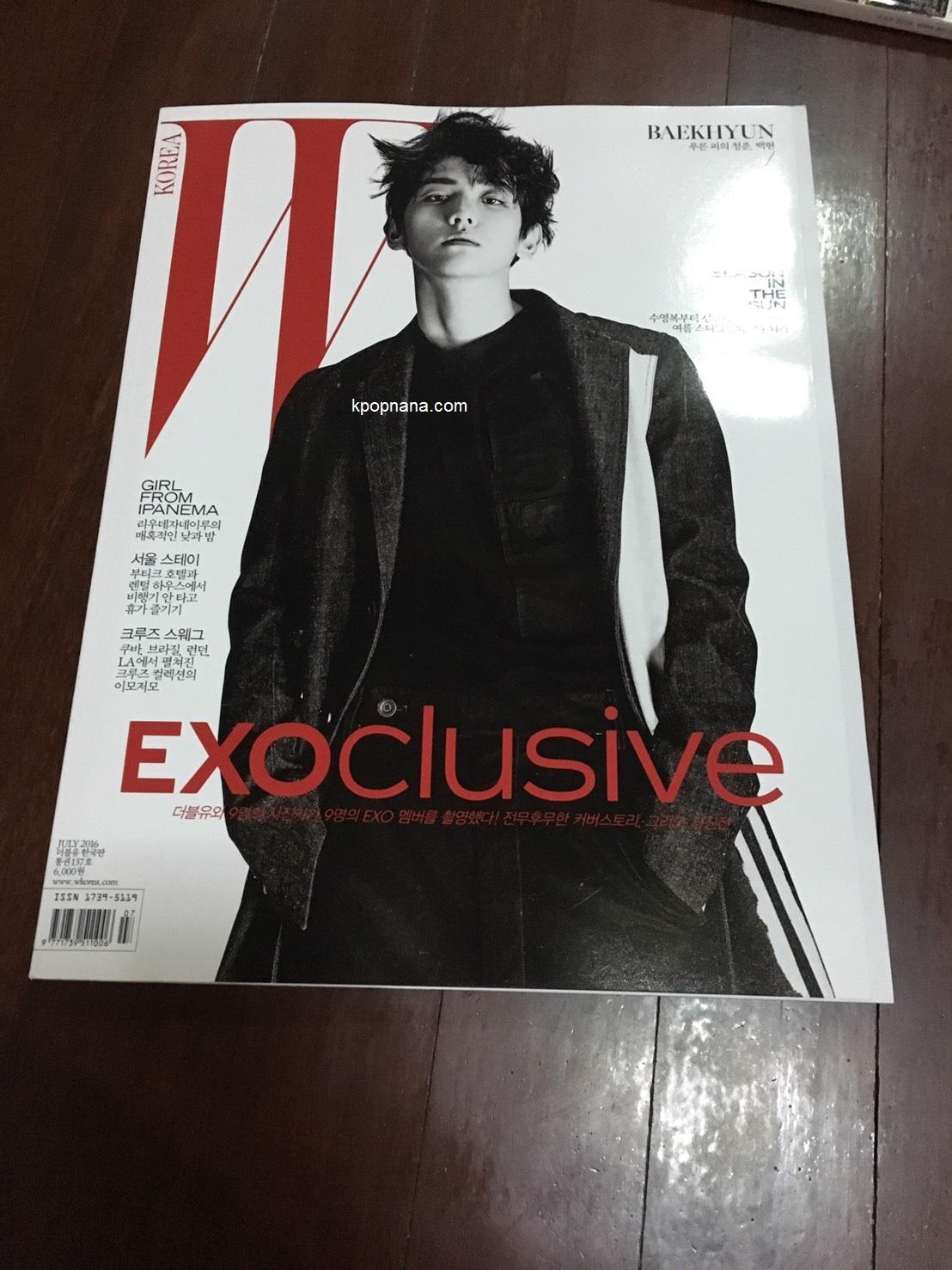 นิตยสาร W KOREA 2016.07 หน้าปก แบคฮยอน พร้อมส่ง