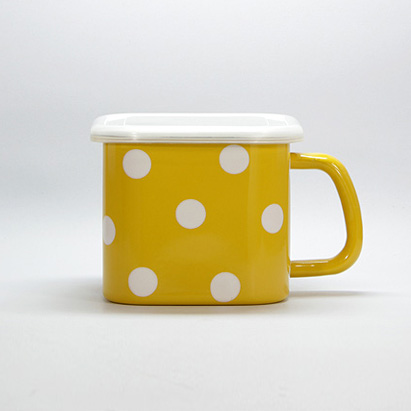 Enamel square box (Yellow with White dots)