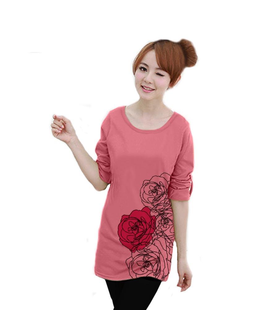 เสื้อยืดแขนยาว ตัวยาว / แซกสั้น ผ้านุ่ม ลาย Beautiful Rose สีโอรส
