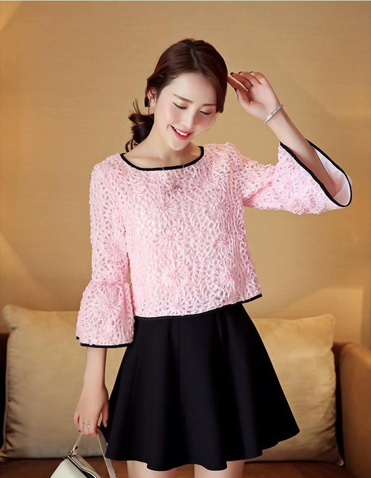 เสื้อผ้าลายดอกไม้ แฟชั่นเกาหลี สีชมพู แขนยาวห้าส่วน