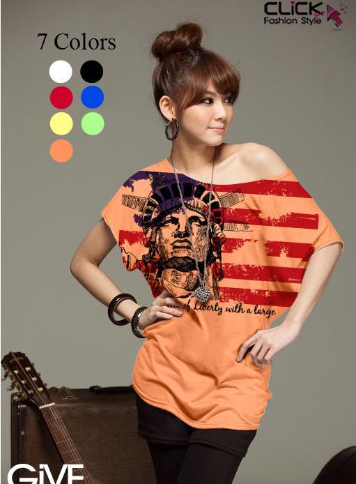 เสื้อยืดแฟชั่น ชายเสื้อดึงยาง ลาย Liberty Flag สีส้ม (คอปกติ ไม่กว้าง ไม่เปิดไหล่)