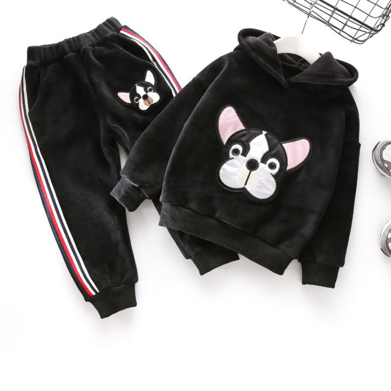ชุดเซ็ตเด็กแนวฮิปฮอปลายหมา กางเกงแถบ สีดำ