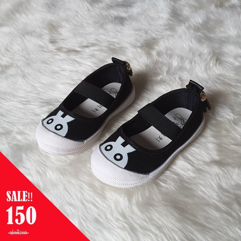 รองเท้าผ้าใบแบบสวมลายกระต่ายแต่งพู่ด้านหลัง สีดำ