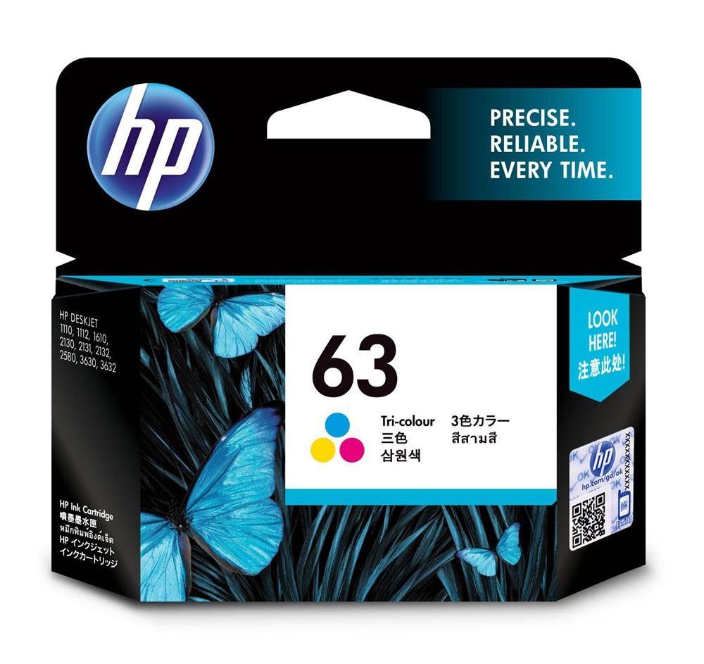 HP 63 ตลับหมึกอิงค์เจ็ท 3สี Tri-color Original Ink Cartridge (F6U61AA)