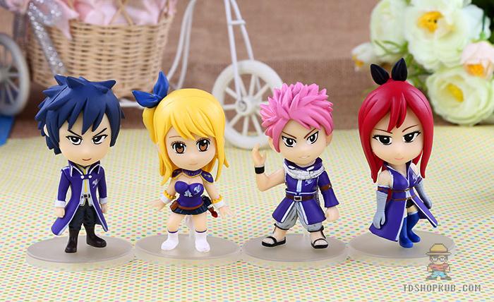 โมเดลแฟรี่เทล Fairy Tail ชุด 4 ตัว(ฐานสีเทา)
