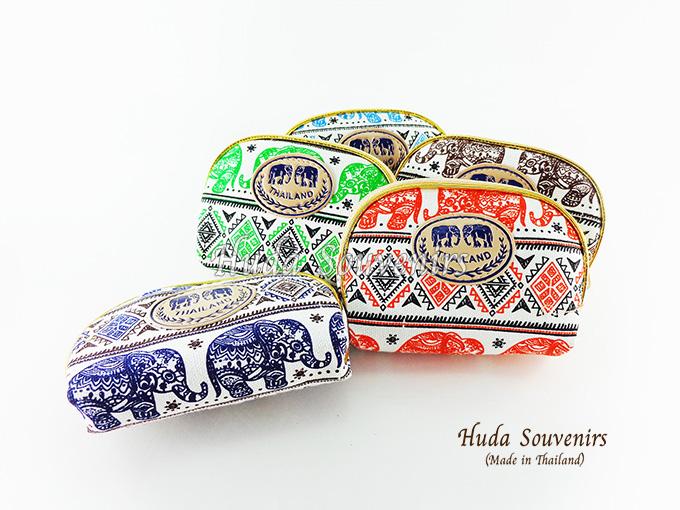 ของที่ระลึกไทย กระเป๋าผ้าลายไทย ขอบทอง (ขนาด: ขอบทอง S) ลายช้าง หนึ่งโหลคละสี จำหน่ายยกโหล สินค้าพร้อมส่ง