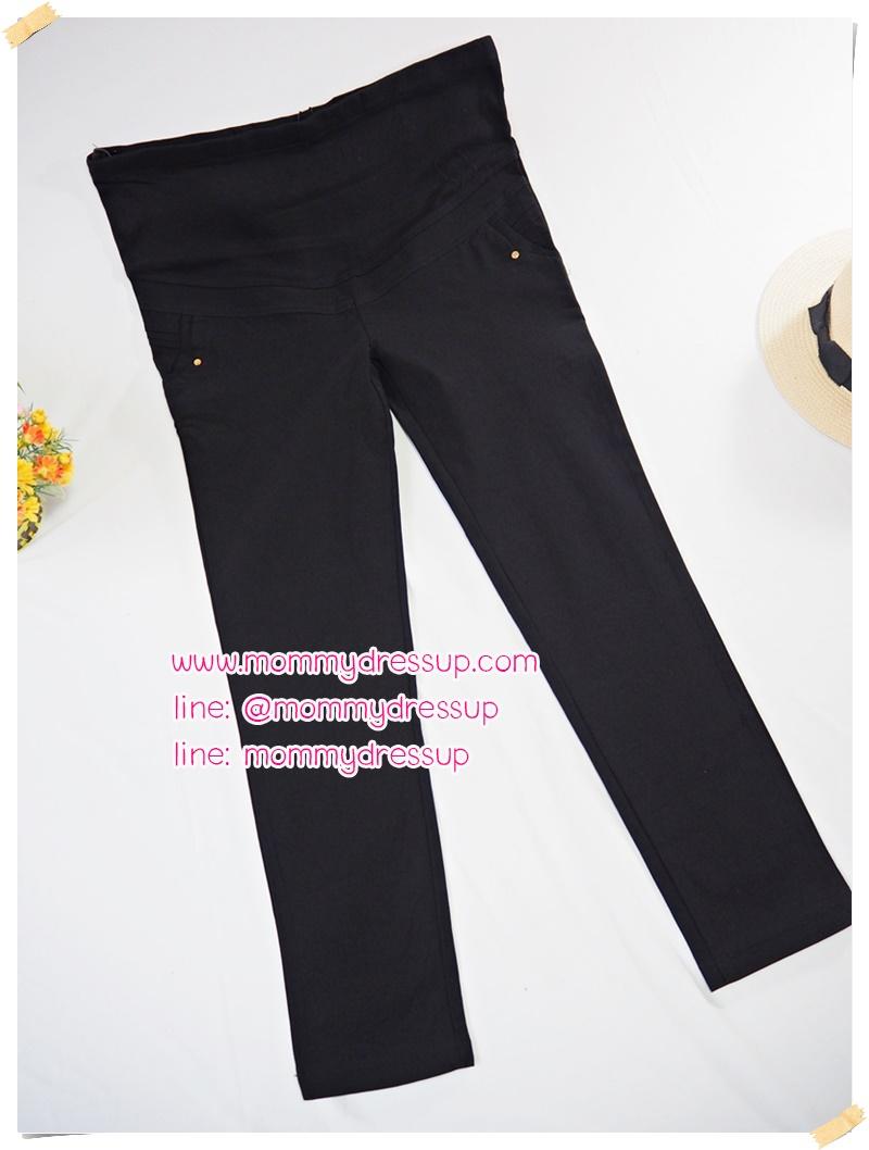 กางเกงขายาวทำงานสีดำขาเดฟ แต่งกระดุมทองปั๊มดาววิ้งๆที่กระเป๋าหน้า ผ้านิ่มใส่สบายค่ะ เอวปรับระดับได้ตามอายุครรภ์ น่ารักมากๆค่ะ