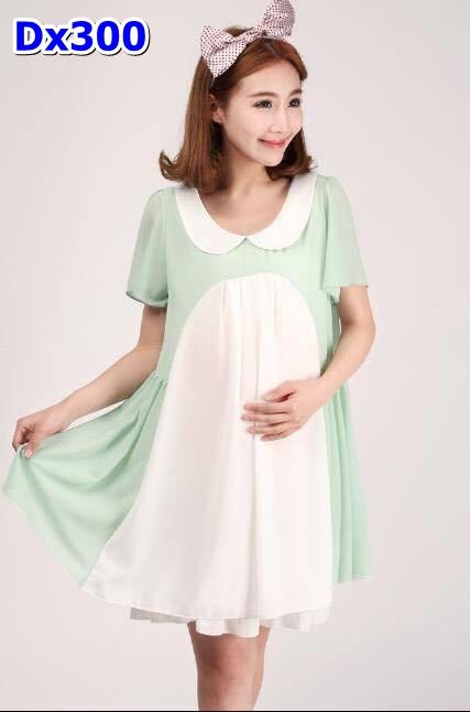 #ชุดแซกชีฟองสีเขียวขาว คอบัวแขนสั้น ชุดน่ารักมากๆ ผ้าเนื้อนิ่มใส่สบาย จัดเลยจร้า