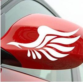 สติ๊กเกอร์แต่งรถยนต์ angel wing สีขาว ติดกระจกมองข้าง (1แผ่น/ปีก1คู่)